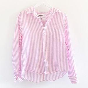 Frank & Eileen Barry 100% Linen Pink Stripe Shirt